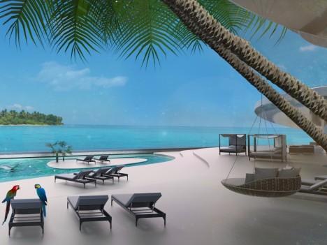 Nádherné výhledy slibuje kromě vyhlídkové věže i terasa s plážovým barem. Musíte ovšem mít našetřeno okolo 100 milionů dolarů.