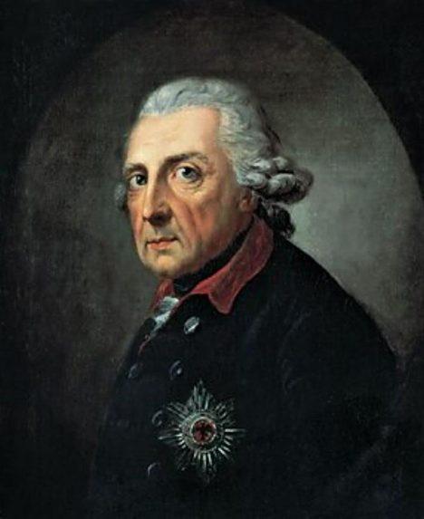 Pruský král Fridrich Veliký podporuje německou menšinu žijící v Americe.