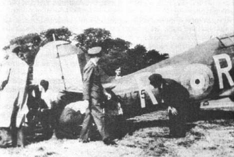 Hurricane Mk.I, s nímž František za záhadných okolností havaroval.