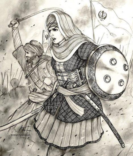 Své legendární bojovnice má také Indie, jedna znich přitom žila poměrně nedávno, na přelomu 17.a18.století. Jmenovala se Mai Bhago adnes je uctívána jako svatá. Patřila ksikhkům a dokázala se čtyřicítkou věrných bojovníků zachránit vůdce svého náboženství zrukou Mughalských oddílů. Bhago jako jediná bitvu přežila a vůdce Sikhů Góbinda Singha si ji vybral jako strážce.