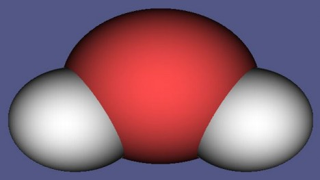 Model molekuly vody.
