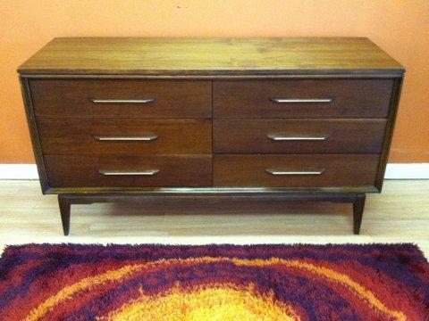 mid-century walnut lowboy dresser