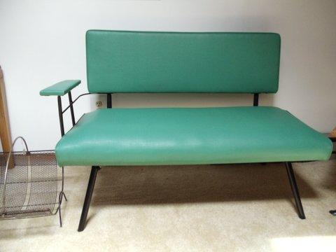 mid-century modern teal bench