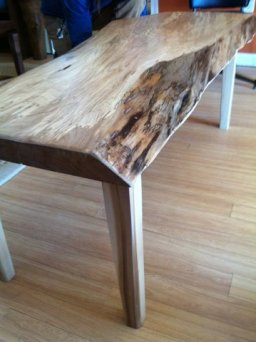 spalted elm slab coffee table with natural edge