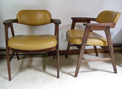 mid-century modern walnut armchairs