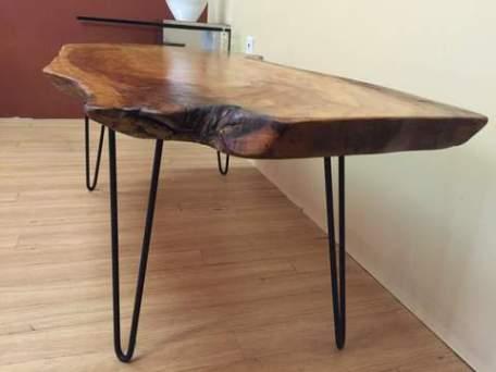 live edge cherry slab coffee table