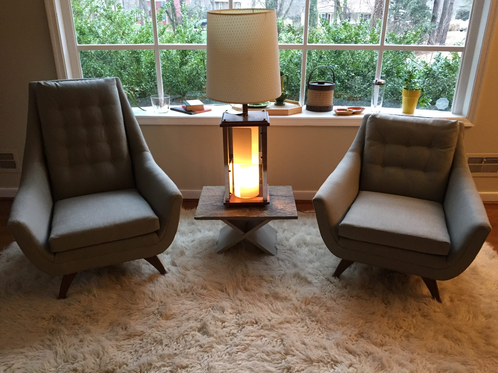 adrian pearsall lounge chair fishing with cup holder mid century modern pair of chairs epoch matching new gray linen upholstery