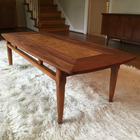 coffee table with burlwood inlay by lane