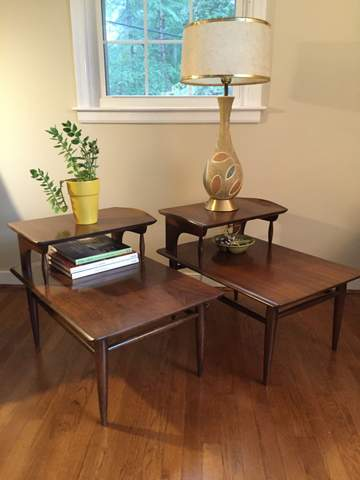 vintage mid century step tables by Bassett Artisan