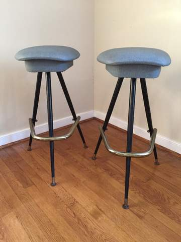 upholstered counter chairs kitchen chair covers target mid century modern three legged atomic age bar stools, gray vinyl, chrome base - epoch
