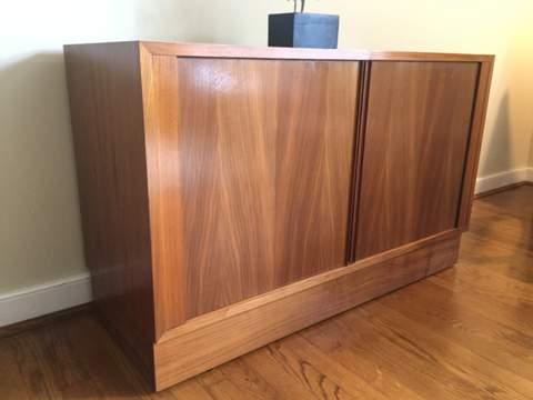 Danish modern mid century credenza tambour doors cabinet