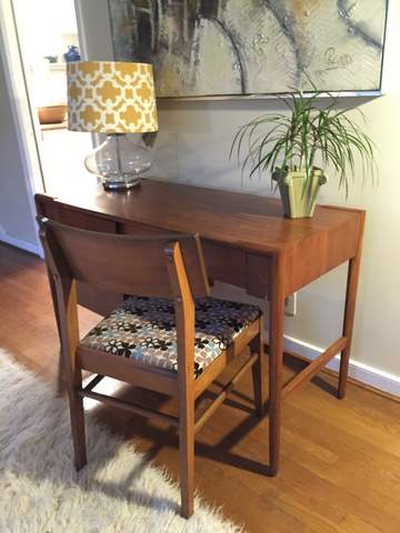 mid century modern walnut desk by drexel parallel