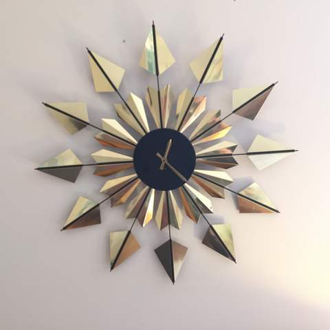 mid century modern brass starburst wall clock