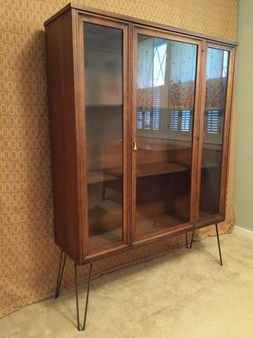 MidCentury Modern Glass Fronted Display Cabinet by