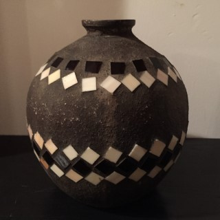 vintage earthenware jug mosaic inlay
