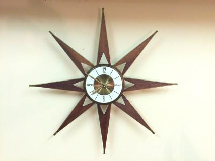 vintage mid century modern atomic starburst clock walnut brass elgin