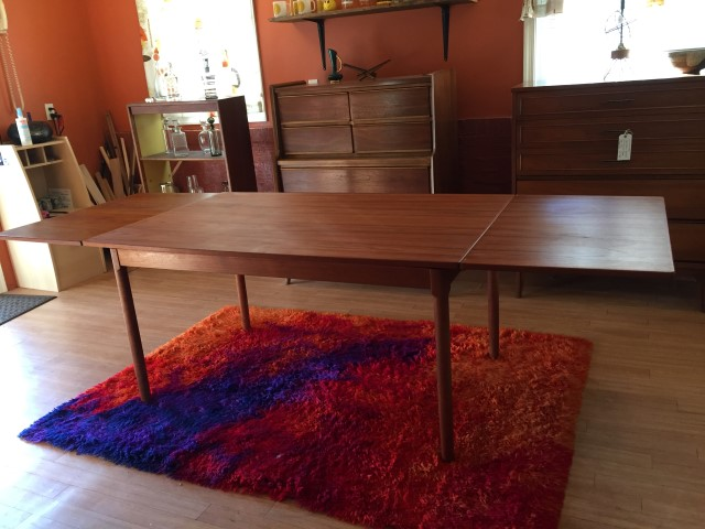 danish modern teak refectory dining table