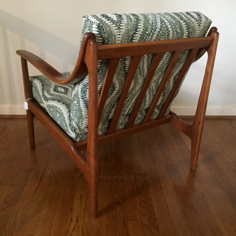 Mid Century Modern Lounge Chair with Solid Bent Wood Arms