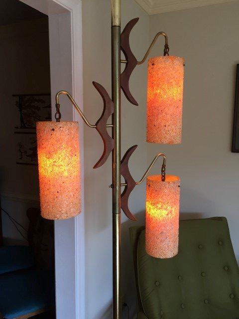 mid-century-modern-tension-rod-lamp-sculpted-walnut-gravel-encrusted-shades
