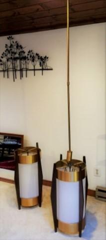 large mid century modern walnut brass glass cylindrical pendant lamps