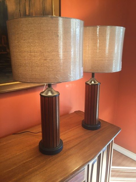 Pair Mid Century Modern Ribbed Walnut Table Lamps Epoch