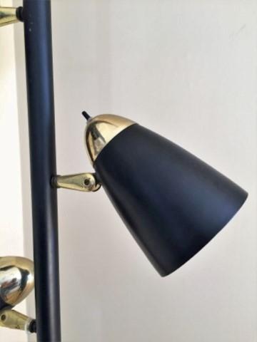 mid century modern black tension rod pole lamp
