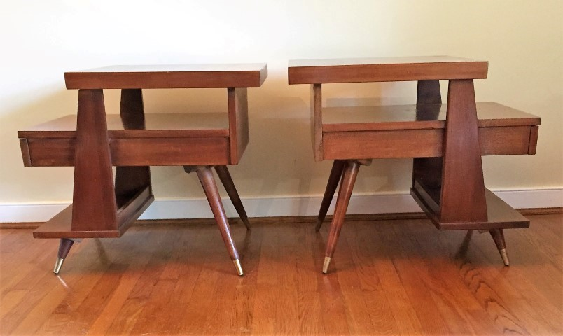 mid century modern american of martinsville triple tiered end tables