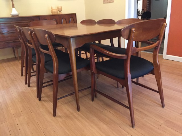 mid century modern walnut dining set danish style 8 chairs
