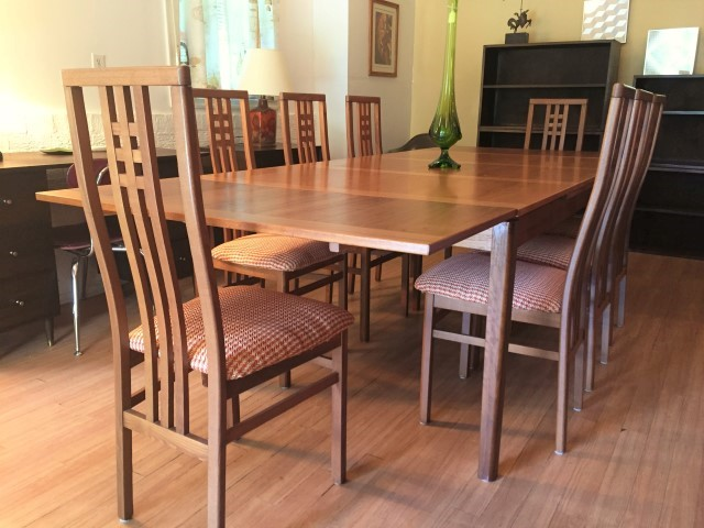 Danish Modern teak refectory table 8 Italian chairs