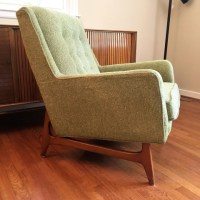 Mid Century Armchair with Light Green Wool Upholstery - EPOCH