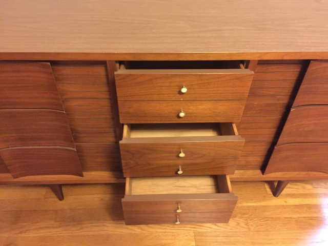 mid century modern triple dresser by Johnson Carper