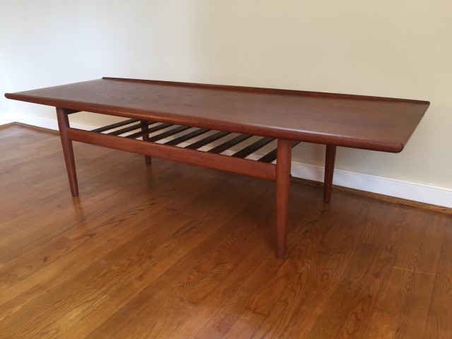 danish modern mid century teak coffee table