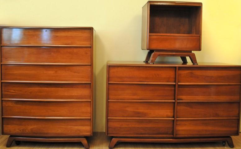 mid century modern solid cherry bedroom suite