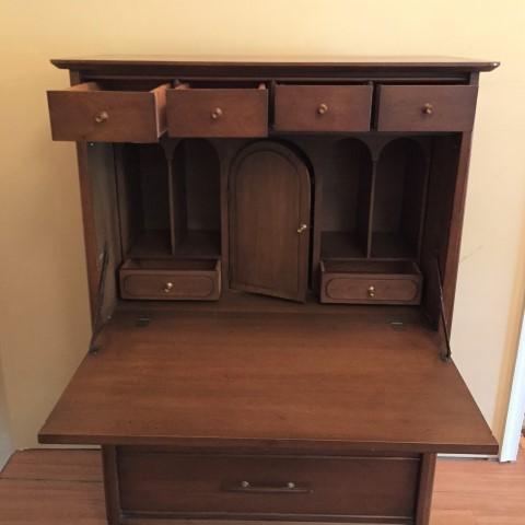 mid century modern storage cabinet drop front desk secretary