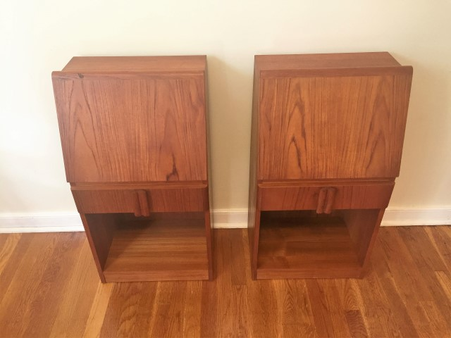 pair danish modern teak drop front side end table nightstand