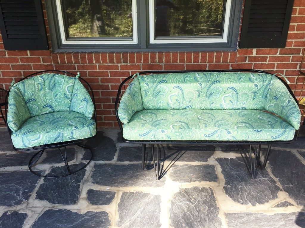 circular bamboo chair cushion chocolate brown accent chairs mid century wrought iron patio glider & matching rocker - epoch