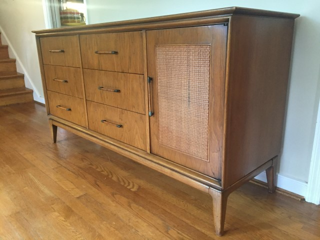 mid century modern triple lowboy dresser rattan walnut