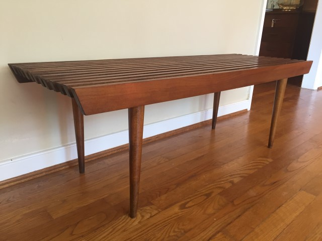 mid century modern wood slat coffee table yugoslavia