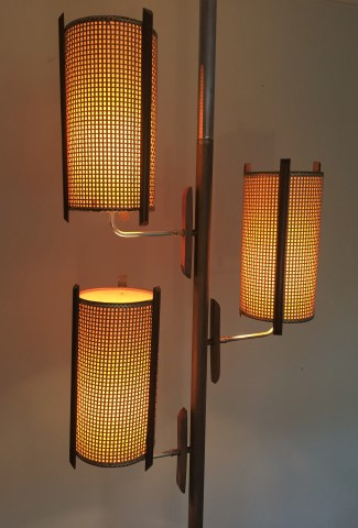 Mid Century Modern Tension Rod Pole Lamp with Walnut