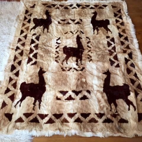 vintage alpaca pelt mosaic rug