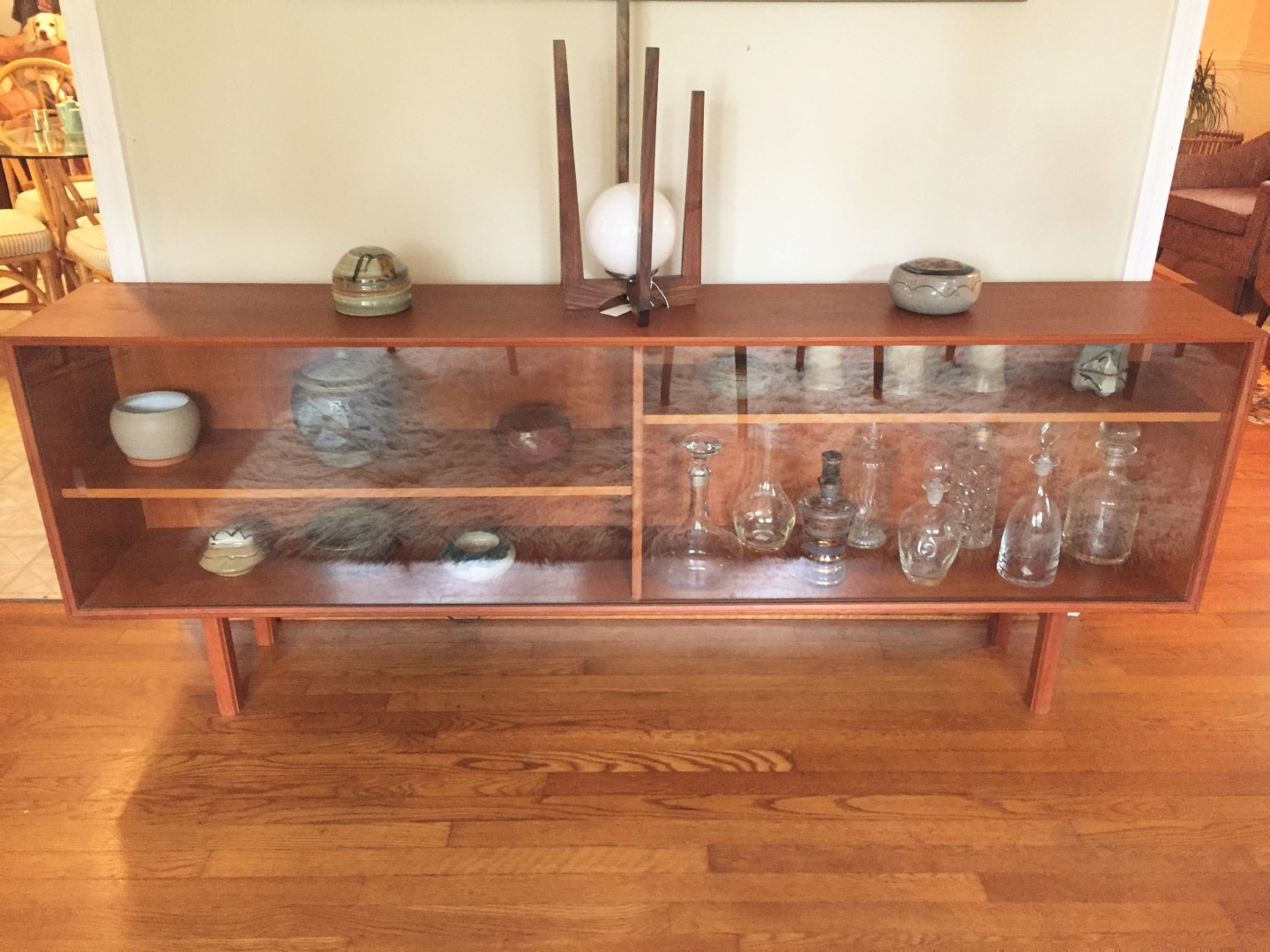 Danish Floating Credenza : Vintage danish teak glass front media center epoch