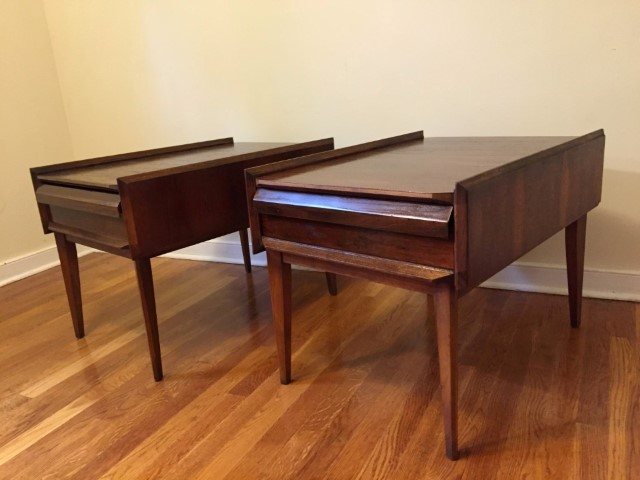 mid century modern walnut end tables first edition by Lane