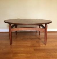 Mid Century Modern Circular Walnut Coffee Table - EPOCH