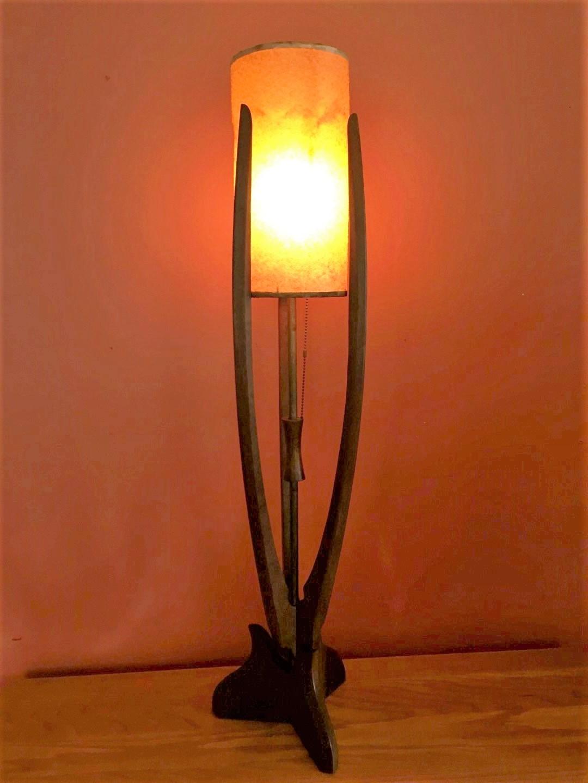 mid century modern vintage sculptural mahogany lamp fiberglass shade