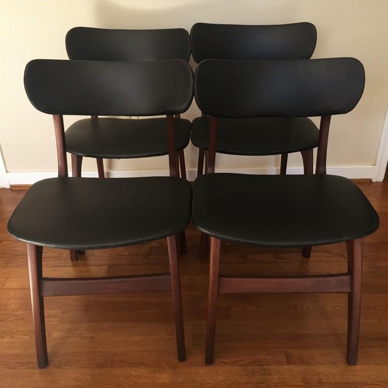 Danish Modern Dining Chair: Danish Modern Walnut Dining Chair Set, Black Naugahyde