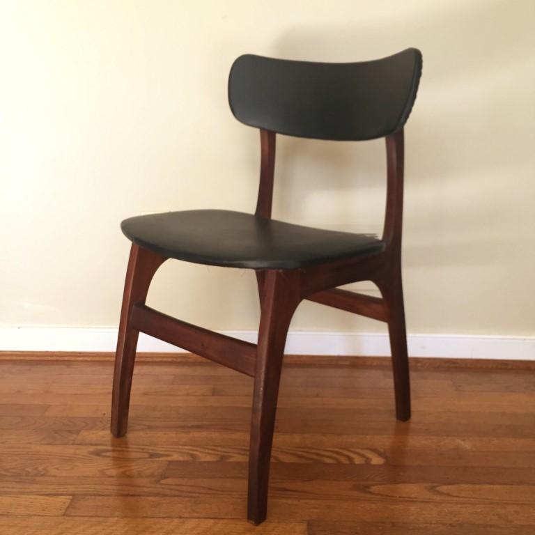 Danish Modern Walnut Dining Chair Set Black Naugahyde