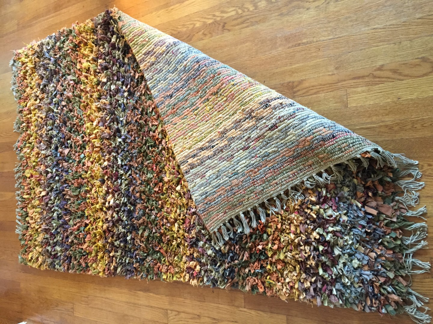 Multi Colored Rag Weave Area Rug  EPOCH