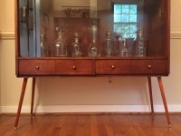 Mid Century Walnut Display Cabinet with Glass Doors ...