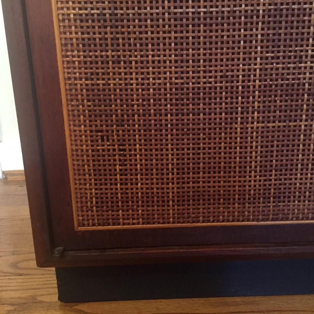 Mid Century Modern Walnut Turntable Amp Record Storage Cabinet EPOCH