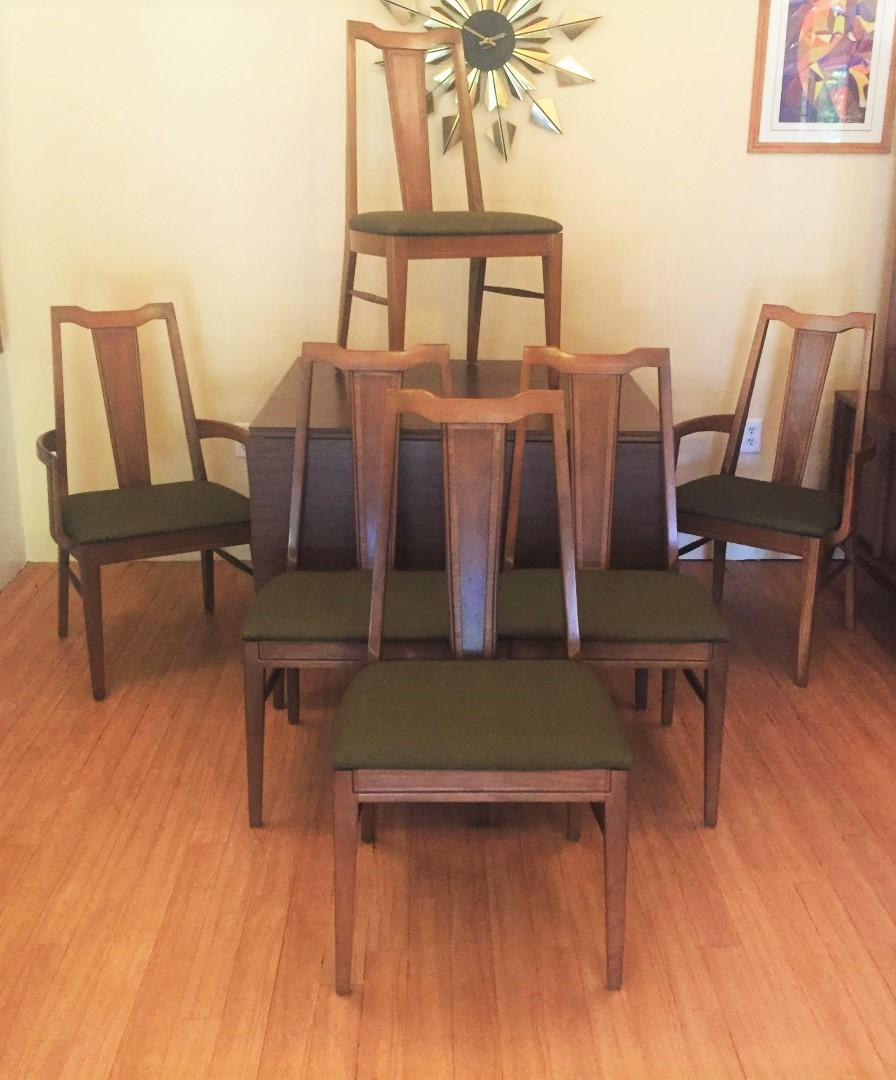 Mid Century Modern Dining Chair Set With Contrasting Veneer